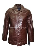 New 4010 Brown Glazed Men's Classic Hip Length Coat Real Cow Leather Jacket