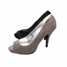 Ladies suedette studded peep toe high heel court shoes