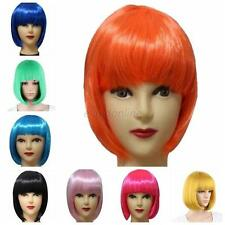 Sexy Full Bangs Short Straight Wig BOBO Cosplay Party Full Wigs Hair 13 Colors