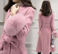 Korean Womens Slim Fit Long Jacket Fur Trim Woolen Blend Bowties Coat Parka Hot