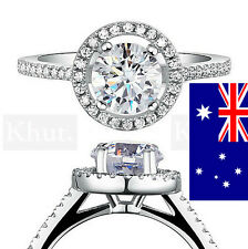18K White Gold Plated & Quality Cubic Zircon Sz 6,7,8 Romantic Gift + Gift Bag