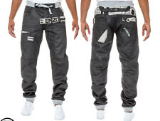 New Mens Enzo Designer Cuffed Jogger Jean Coated Denim Jeans Sizes 30R-36R