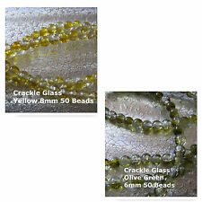 Crackle Glass 6mm Olive Green 8mm Yellow  Jewelry Beads