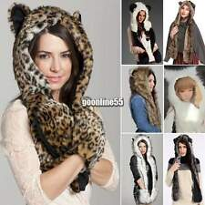 Winter Warm Hood Animal Hood Faux Fur Hat Scarf With Mittens Gloves Pocket EA9