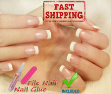24Pcs Artificial false FRENCH MANICURE Fake Nails tips Glue - Fast From Europe
