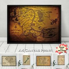 Lord Of The Rings Map Middle Earth New Zealand Film Location Wall Poster Print