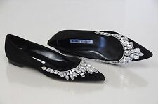 $1485 NEW MANOLO BLAHNIK BB JEWELED Black Suede Pointy Flats Ballet SHOES 35.5