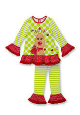 New Girls Rare Editions 2-Piece Reindeer Top Leggings Christmas Holiday Set 4T