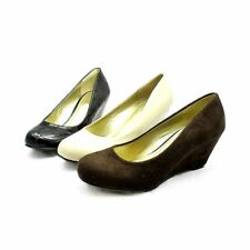 Ladies low wedge court shoes with rounded toe