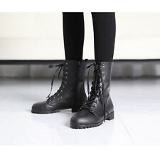 Women's chic Black synthetic leather side zip closure low heels combats boots