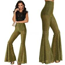 Woman Wide Leg Flared Pants Party Lady Bootcut Elastic Office Long Trousers S0N4