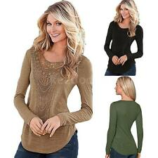 Womens Solid T-shirt Crochet Lace Long Sleeve Fit Blouse PUllover Shirt E2I5