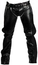 SEXY REAL BLACK LEATHER HEAVY DUTY BONDAGE PANTS JEANS BLUF GAY-(R2-BLK)