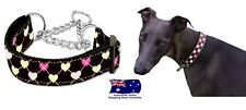 Martingale Dog Collar Brown Hearts M L Greyhound Whippet Training Choker Chain