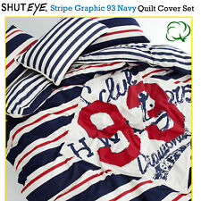 Stripe Graphic 93 Navy Cotton Quilt Cover Set by Shuteye - SINGLE DOUBLE QUEEN