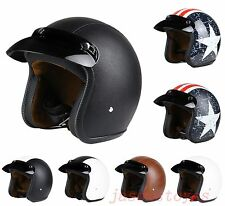 Vcoros 3/4 Open Face Motorcycle Capacete Moto Leather Scooter Vintage Helmet