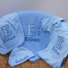 Personalised Baby Boy Clothes Gift Set Blanket Vest Bib Hat with Babies Name
