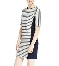 Ex M&S Marks and Spencer White & Navy Pure Cotton Striped Tunic Sweater Dress