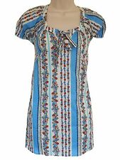 EX EVANS K&D - CREAM/RED/BLUE/BLACK COTTON FLORAL TUNIC - PLUS SIZE 14 - 30/32