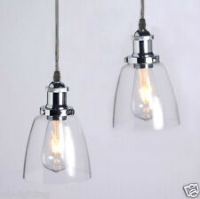 Vintage Industrial Bell Glass Chrome Shade Pendant Lamp Ceiling Light Fitting