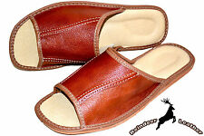 Mens Real Genuine Leather Tan Slippers Shoes Sandal Handmade In Poland Slide New