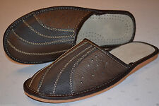 Mens Real Leather Slippers Shoes Sandal Brown Handmade In Poland Orthopaedic New