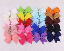 "Lot 10/20/30pc 4"" Baby Girl Grosgrain Ribbon solid hairbow with clips 2788-P"