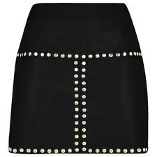 Sexy Ladies Women Real Genuine Soft Sheep Nappa Leather Black Mini Skirt (SK1)