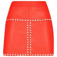 Sexy Ladies Women Real Genuine Soft Sheep Nappa Leather Red Mini Skirt (SK1-RED)