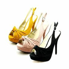 Ladies Platform high heel sling back sandals / shoes with knot peep toe