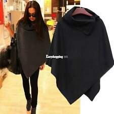 Warm Winter Fashion Women Batwing Cape Wool Poncho Jacket Cloak Oversized Coat