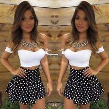 Ladies Short Sleeve Bodycon Crop Top Party Cocktail Polka Dot Mini Skirt Dress