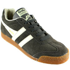 WOMENS GOLA HARRIER LOW TOP SUEDE RUNNING WHITE STRIPED TRAINERS ALL SIZES