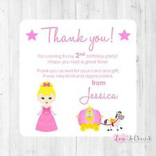 Personalised THANK YOU CARDS Cinderella/Princess Carriage Girls Birthday Party