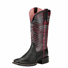 New Women's Ariat 10017368 Outsider Black Deertan ATS Cowgirl Western Boots