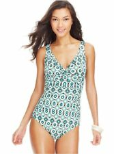 NWT Swim Solutions Twist Front Ruched One-Piece Swimsuit Tummy Control Sz 10-18