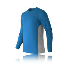 New Balance Accelerate Mens Grey Blue Long Sleeve Crew Neck Running Top