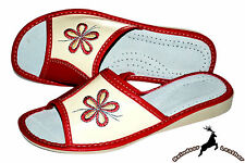 Womens Ladies Natural Leather Red Handmade Poland Slippers Shoes Sandal Mule New