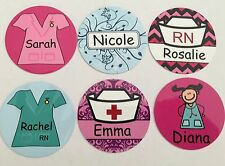 Personalised Nurse Design Badges -60 Designs - Faces, Scrubs Add your Name Badge