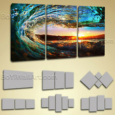 Large Prints Gallery Wrapped Wall Art Surf Glow Sea Beach Sunset Canvas Painting