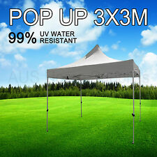 3x3M White Gazebo Marquee Heavy Duty POP UP Tent Market Outdoor Folding Beach