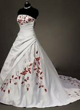 Hot White&Red A-line Strapless Bride Wedding Dress Stock Size 6 8 10 12 14 16 18