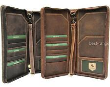 Large Travel Wallet Real Leather Tan or Brown New in Gift Box Visconti 728