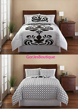 Luxemborg 3 Piece Bedding Set - 2 Shams & Comforter Black White FULL QUEEN KING