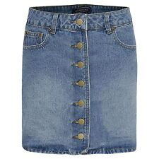 Womens Mini Denim Faded Ladies Party Front Button Casual Skirt UK 6 - 14