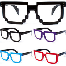 Retro 8 BIT PIXEL PIXELATED CLEAR LENS GLASSES Classic Video Game Style Square