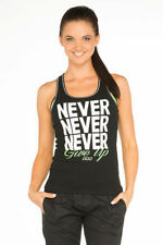 Lorna Jane Never Give up Tank Top Singlet Slim Fit Vest Black XS S M L