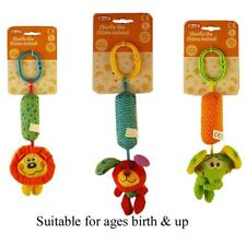 A to Z Charlie the Chime Animal Baby Toy with Buggy Clip 0m Dog Lion Elephant