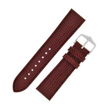 Hirsch RAINBOW Lizard Embossed Leather Watch Strap and Buckle in BURGUNDY