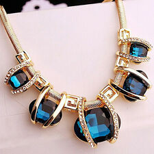 Modern Women Crystal Pendant Golden Chain Choker Beauty Statement Bib Necklace